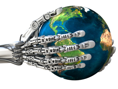 Robot keeps the Earth. Planet in hands at high technology.